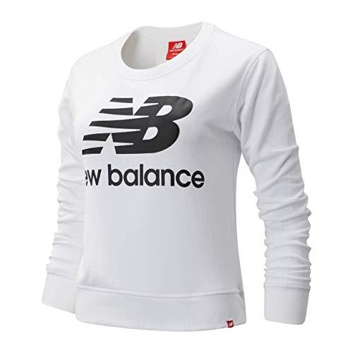 New Balance Crewneck Damen Essentials Crew WT91585 WK Weiss, Größe:L