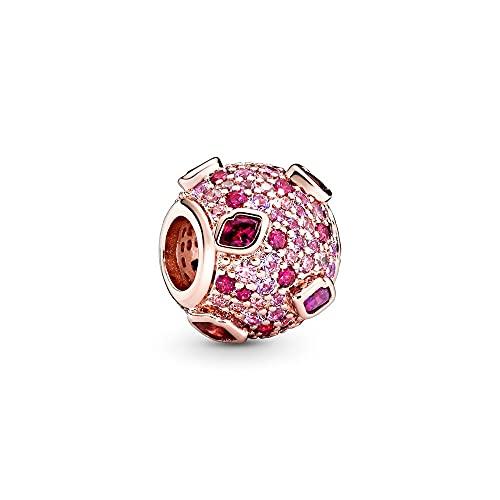 Pandora 925 Valentine Rose Kis Pave Charm Plata de ley Corazón Mujeres Finas Joyas Diy completas