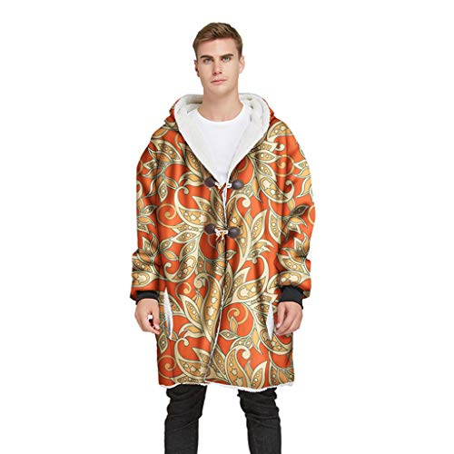 YunYoud La Giacca da Uomo dal Design Elegante è Un Cappotto Raffinato Che Rende Affascinante Il Cappotto con Fibbia in Corno Stampato Cappotto Invernale Giacca