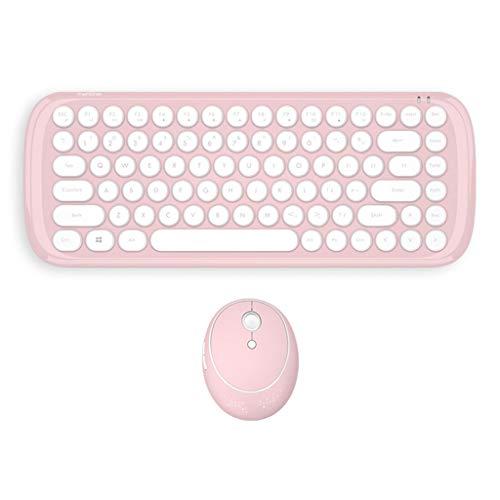 Yowablo Drahtlose Tastatur Maus Mini Bonbonfarbener, mattierter, runder Punk für Windows Laptop (Rosa)