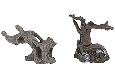 emours Aquarium Fake Resin Spider Driftwood Branches Cave for Geckos Reptiles Fish Tank Aquascape Decor, 2 Piece Set Small Medium Size from KENSID