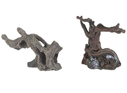 emours Aquarium Fake Resin Spider Driftwood Branches for Geckos Reptiles Fish Tank Aquascape Decor, Small, 2 Pack