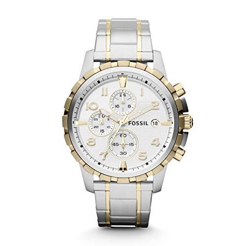Fossil Men's Dean Quartz Stainless Steel Chronograph Watch, Color: Gold/Silver (Model: FS4795IE)