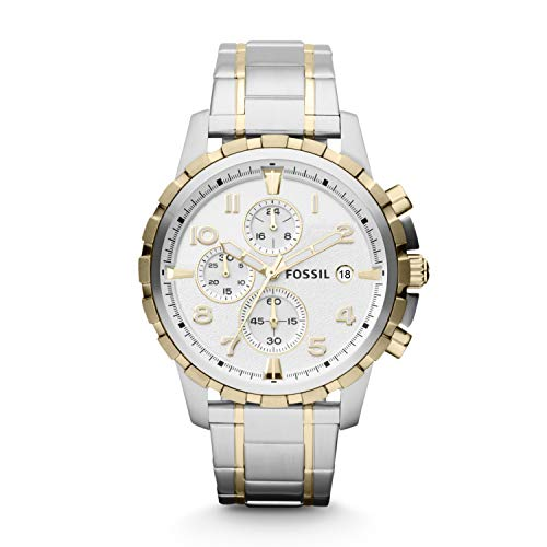 Fossil Men's Dean Quartz Stainless Chronograph Watch, Color: 2T Silver/Gold (Model: FS4795IE)
