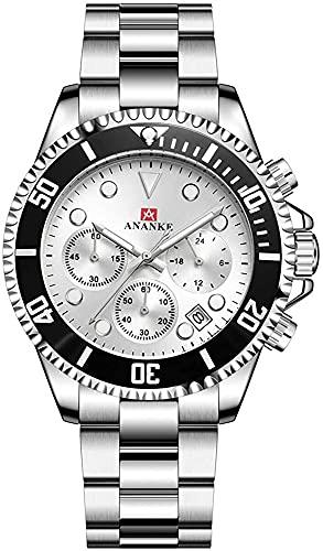 QHG Reloj de Hombre Moda clásico de Acero Inoxidable de Acero Inoxidable cronógrafo Multifuncional Reloj de Cuarzo con Calendario para Hombres (Color : Silver-White)