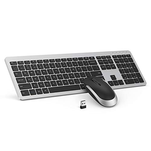 Wireless Keyboard and Mouse Combo - seenda Full Size Slim Thin Wireless Keyboard Mouse with On/Off Switch on Both Keyboard and Mouse - (Black and Silver)