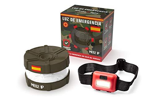 iWotto E light - Luz Emergencia Coche + Linterna luz Frontal - Señal V16 Luz Emergencia intensa, Accesorio de Coche Baliza Emergencia homologada y autorizada por DGT (Verde Army)…