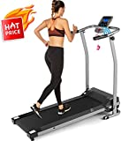 ANCHEER Folding Treadmill, Electric Running Machine with LCD Monitor Motorized,Pulse Grip and Safety Key,Portable Fitness Treadmill for Home/Office Use-US Stock (Gray)