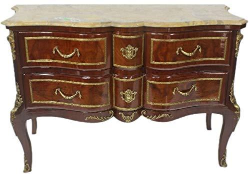 Casa Padrino Barock Kommode Braun/Gold/Creme 120 x 50 x H. 80 cm - Elegante Massivholz Kommode mit Schubladen und Marmorplatte - Möbel im Barockstil