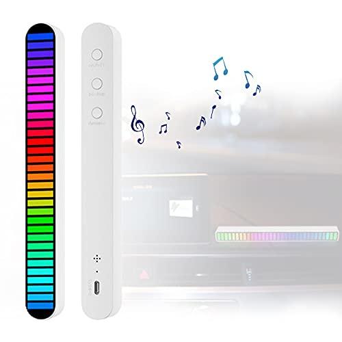 Espectro Música Estéreo Múltiples Modos, Analizador Espectro Musical Carga Rápida Reducción De Ruido, Luces De Espectro Musical Visión Gran Angular para Viaje,Blanco,Round