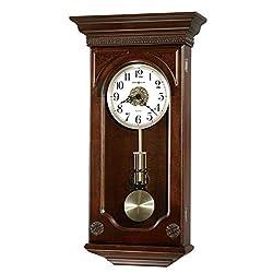 Howard Miller Jasmine Wall Clock 625-384 – Hampton Cherry with Quartz, Dual-Chime Movement
