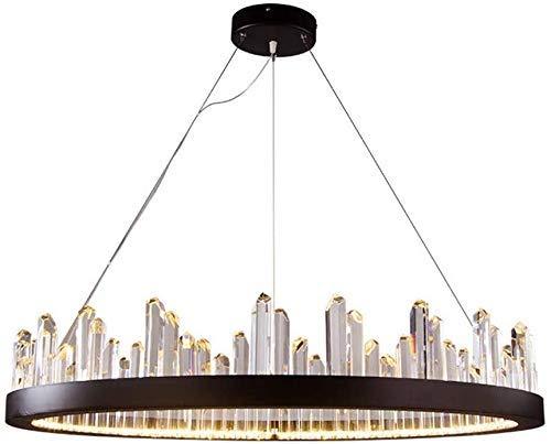 miwaimao Lámpara de techo LED moderna de cristal, iluminación colgante para comedor, moderna, ajustable, cable de acero inoxidable, 50 cm de indios