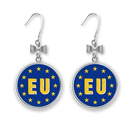 Abreviatura de la Unión Europea con arco, pendientes de gota con gancho perforado