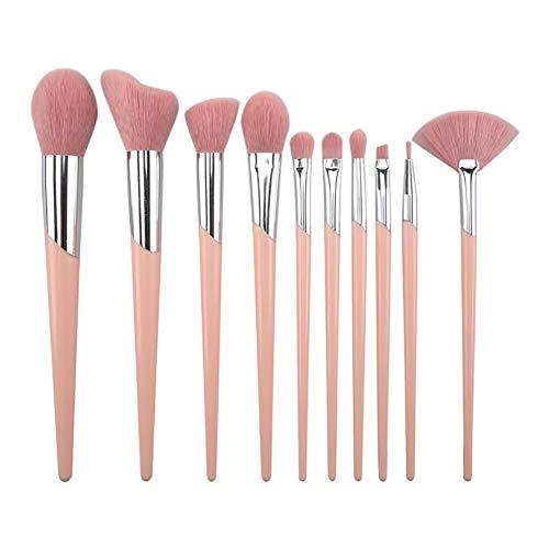10 Pièce Maquillage Brosse Ensemble Poignée en Plastique Tube Incliné Maquillage Brosse Maquillage Brosse Beauté Maquillage Outil,Pink