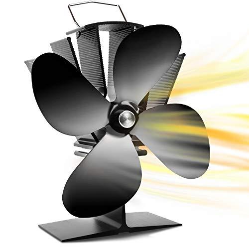 Kaminventilator 4 Blatt mit Wärmebetrieb für Holz / Holzbrenner / Kamin, 40 ° C / 104 ° F...