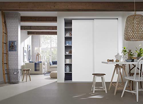 Schiebetürbausatz Komplett mit U-Profile als Drempelvariante - inklusive wahlweise 2 Türen á max. 1030 x 1350 mm in Dekor Weiß, inkl. Beschläge und Schienen in 2 Meter