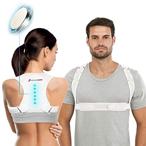 Sportstech Rücken Geradehalter mit Magneten, Rückenstütze für aufrechte Haltung, Verstellbarer Haltungstrainer gegen Nacken- Schulterschmerzen, Haltungskorrektur inkl. Softband, Damen & Herren RTX100