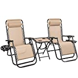 Homall 3PCS Zero Gravity Chair Patio Folding Recliner Outdoor Chaise Lounge Chairs Portable Reclining Chair Set with Side Table (Beige)