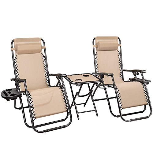 Homall 3 Pcs Zero Gravity Chair Patio Folding Recliner Outdoor Chaise Lounge Chairs Portable Reclining Chair Set with Side Table (Beige)