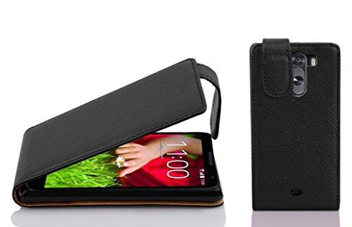 Cadorabo Hülle für LG G2 Mini in Oxid SCHWARZ - Handyhülle im Flip Design aus Strukturiertem Kunstleder - Hülle Cover Schutzhülle Etui Tasche Book Klapp Style
