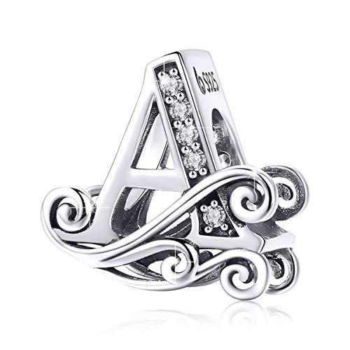 Bamoer Charm con lettera dell'alfabeto dalla A alla Z, per braccialetti europei e argento-placcato-base, colore: Lettera A, cod. GAC030-A+GW0043-S