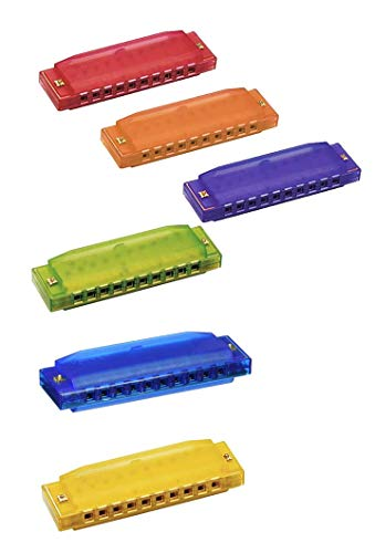 Hohner Clearly Colorful Translucent Harmonica - Set of 6