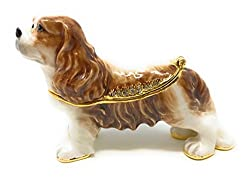 Enameled Cavalier King Charles Spaniel Trinketボックスby Kublaクラフト、アクセントwith Austrian Crystals , 3l[Kubla Craft/amazon]