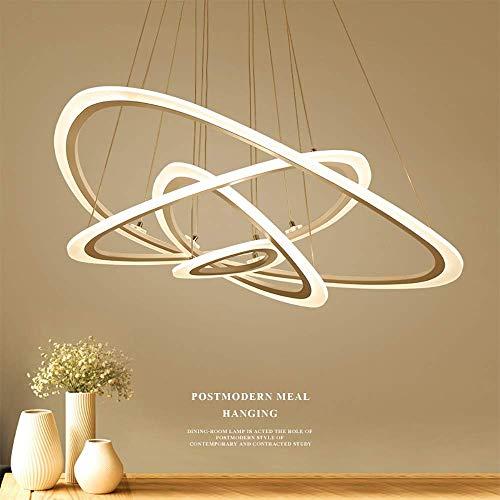 4 lampade a sospensione a LED ad anello, forma moderna a forma di ellisse Illuminazione a sospensione a soffitto creativo, lampadario in alluminio + acrilico, altezza regolabile - luce bianca