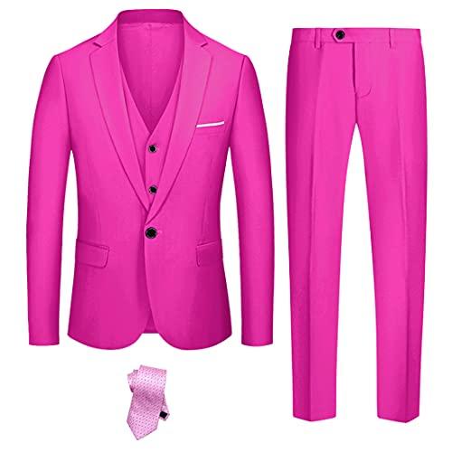 YND Herren Slim Fit 3-teiliges Anzug-Set Ein-Knopf Solid Blazer Weste Hose mit Krawatte - Pink - XX-Large