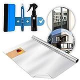 Bakoni [4in1] 90 x 200cm inkl. GRATIS Guide UV-Schutz Sonnenschutzfolie Fenster, Spiegelfolie Selbstklebend Sichtschutz, Reflektierende Fensterfolie Wärmeisolierung , Sonnenschutz Folie