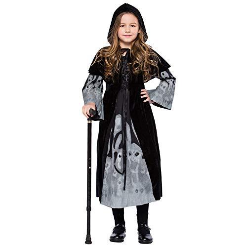 Halloween-Kostüm für Kinder Cosplay Ball Party Leuchtendes Kleid mit Kapuze Schal Anzug mit Kapuze für Party Kinder Halloween, Schlauch, Schwarz Small