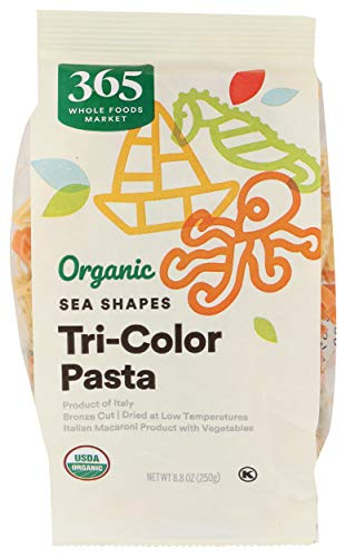 365 by WFM, Pasta Sea Shapes Tri Color Organic, 8.8 Ounce
