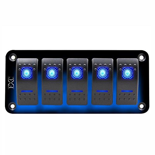Kuinayouyi Panel de interruptor basculante azul de 12 V-24 V con 5 marchas