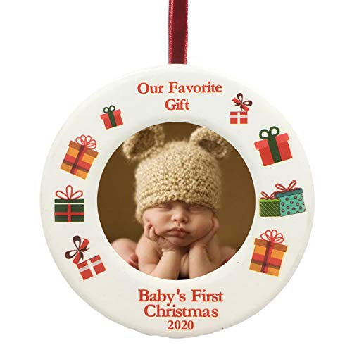 BANBERRY DESIGNS 2020 Dated Baby's First Christmas Ornament - Babies Picture Frame Holiday Ornament for Baby - New Baby Gifts for a Boy or Girl