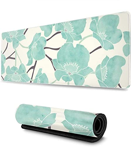 Blue Watercolor Flower Large Gaming Mouse Pad, XXL Extended Mouse Mat Durable Non-Slip Rubber Base Water-Resistant Mousepad