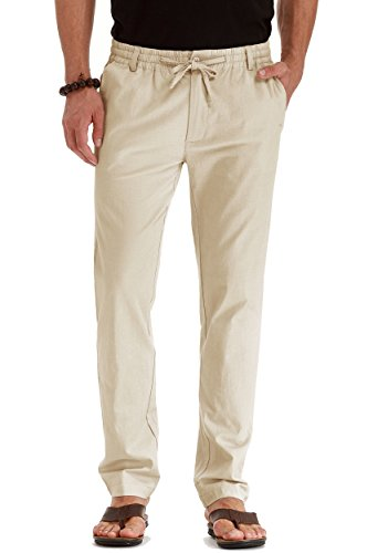 Mr.Zhang Men's Drawstring Casual Beach Trousers Linen Summer Pants Beige-US 32