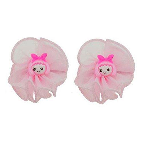 2 Barrettes cheveux pinces - Noeuds Textile Rose Figurines Fillettes