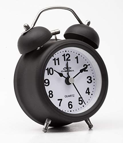 Sapphire India Retro Bedside Alarm Clock Non Ticking Battery Powered, Vintage Twin Bell Analogue Alarm Clocks with Night Light, Kids Bedroom Clock Classic Alarm Clock for Travel (Black)