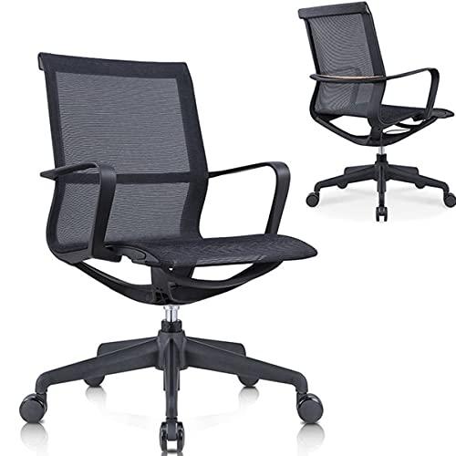 XXzhang Silla ergonómica de Escritorio, Silla de Oficina de computadora con Soporte Lumbar, Altura Ajustable,Negro