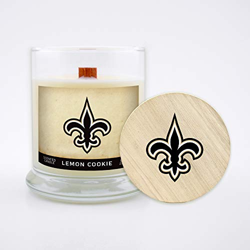 Worthy Promo NFL New Orleans Saints Gifts 8oz Scented Candle Soy Wax w/Wood Wick and Lid, Lemon Cookie