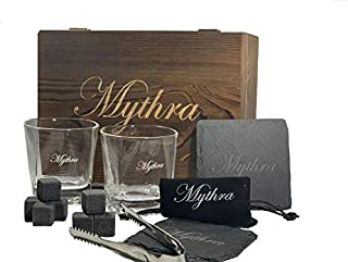 Whiskey glass set and Whiskey stones gift set 💝 8 granite soap stone, 2 stone coasters, 1 Scotch rock tongs, 1 velvet bag 💝 Perfect fathers day gift Christmas holiday gift Wedding gifts 💝 By Mythra