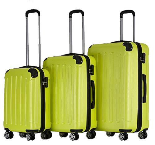 BEIBYE Hartschalen-Koffer Trolley Rollkoffer Reisekoffer Handgepäck 4 Rollen (M-L-XL-Set) (Green, Set)