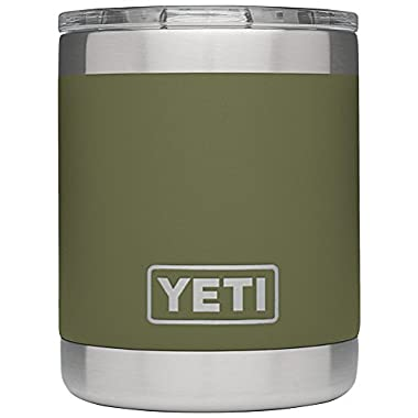 YETI Rambler 10oz Vacuum Insulated Stainless Steel Lowball with Lid, Olive Green DuraCoat