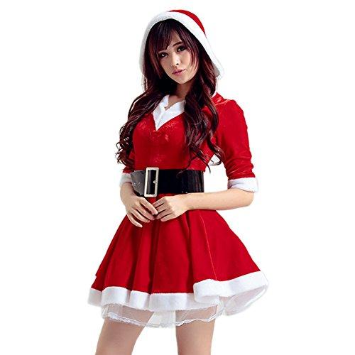 Chic-Chic Noël Mère Déguisement Femme Christmas Costume Robe Adulte Combinaison Bonnet de Noël Capuche (FR36-40, Rouge)