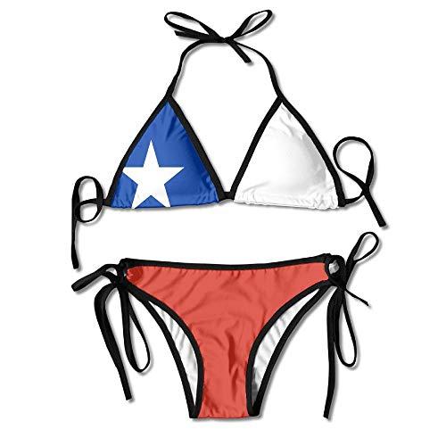 AOOEDM Flagge von Chile Boxen Bikini Frauen Neckholder Top und Set Badeanzüge Strandschwimmen