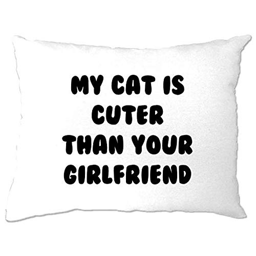My Cat Is Cuter Than Your Girlfriend Slogan Kittens Kitty Pet Lindo Dulce Adorable Dueño Gato Lady Cat Almohada Dormitorio Regalo Divertido Funda de Almohada Cubierta de Almohada de 12 x 16 pulgadas Decoración del Hogar