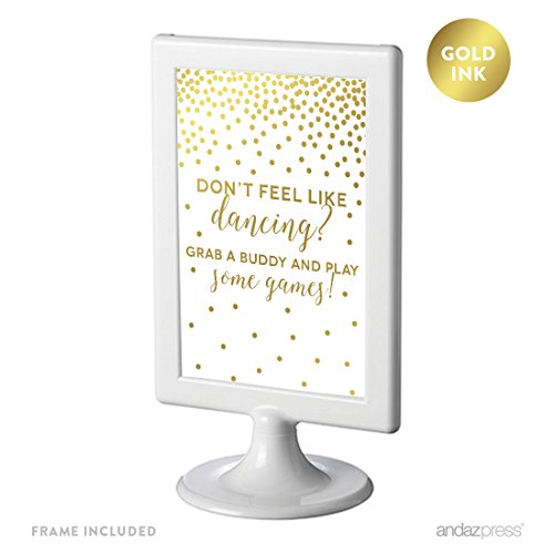 Andaz Press Framed Wedding Party Signs, Metallic Gold Confetti Polka Dots, 4x6-inch, Please Take A Tissue for Your Tears of Joy, Laughter and Happily Ever After, Double-Sided, 1-Pack, Includes Frame