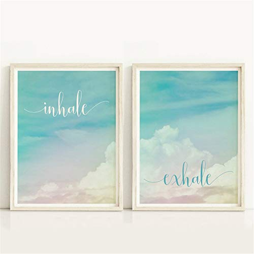 Danjiao Inhale Exhale Motivational Poster Yoga Meditation Prints Boho Home Decor Zen Art Breathe Canvas Painting Pilates Wall Pictures 2Pcs Sala De Estar Decor 60x90cm
