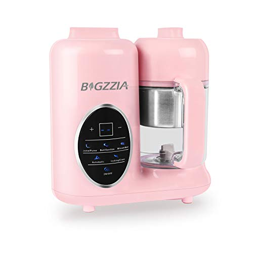 Baby Food Maker Bigzzia Baby Food Processor Puree Blender Multifunction Steamer Grinder Blender Touch Control Panel with Detachable Water Tank and Steam Basket & Bowl (Pink)