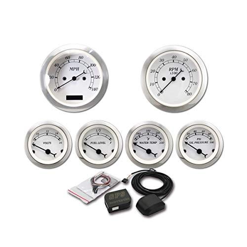 MOTOR METER RACING 6 Gauge Set Classic GPS Electronic Speedometer Digital Odometer White Dial